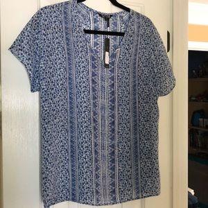 Nic + Zoe S Sleeve Blue White Top Shirt Blouse S